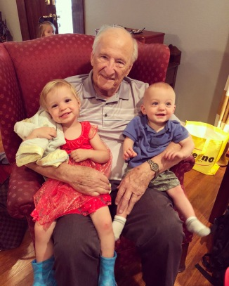 Grandpa with the kiddos. Such a sweet man.